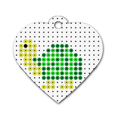Colored Turtle Dog Tag Heart (Two Sides)