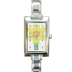 Colored Flowers Rectangle Italian Charm Watch