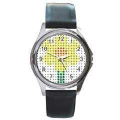 Colored Flowers Round Metal Watch