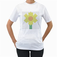 Colored Flowers Women s T-Shirt (White) (Two Sided)