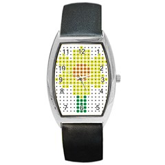 Colored Flowers Barrel Style Metal Watch