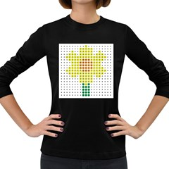 Colored Flowers Women s Long Sleeve Dark T-Shirts