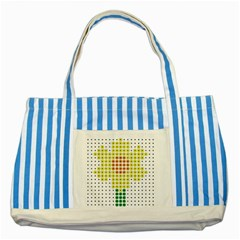 Colored Flowers Striped Blue Tote Bag