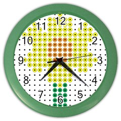Colored Flowers Color Wall Clocks