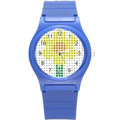 Colored Flowers Round Plastic Sport Watch (S)