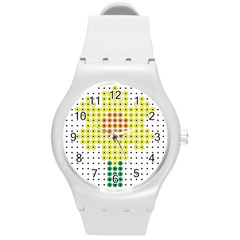 Colored Flowers Round Plastic Sport Watch (m)