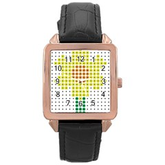Colored Flowers Rose Gold Leather Watch