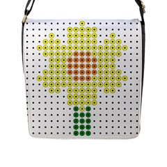 Colored Flowers Flap Messenger Bag (l)