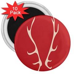 Deer Antlers 3  Magnets (10 Pack)