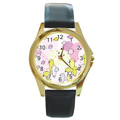 Cut Bird Round Gold Metal Watch