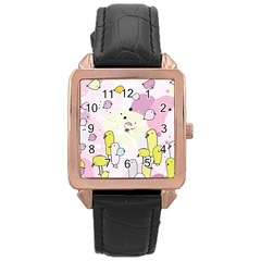 Cut Bird Rose Gold Leather Watch