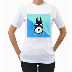 Face Dog Women s T-Shirt (White) (Two Sided)