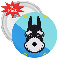 Face Dog 3  Buttons (10 pack)