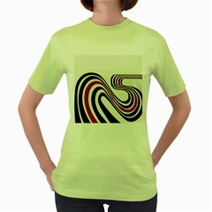 Curving, White Background Women s Green T-Shirt