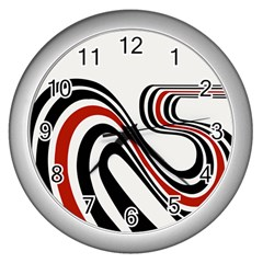 Curving, White Background Wall Clocks (Silver)