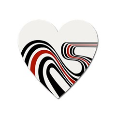 Curving, White Background Heart Magnet