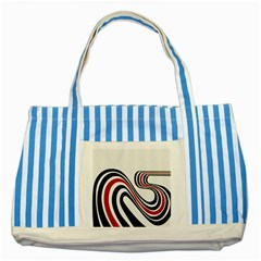 Curving, White Background Striped Blue Tote Bag