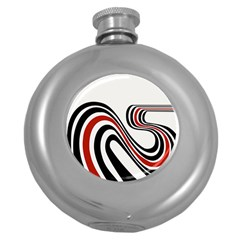 Curving, White Background Round Hip Flask (5 oz)
