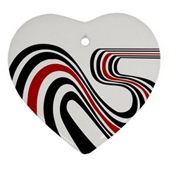 Curving, White Background Heart Ornament (2 Sides)