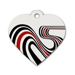 Curving, White Background Dog Tag Heart (Two Sides)
