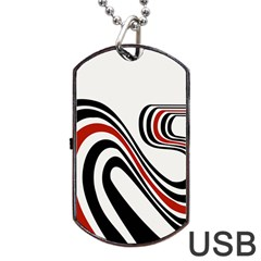 Curving, White Background Dog Tag USB Flash (Two Sides)