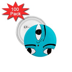 Eyes Three Blue 1.75  Buttons (100 pack)