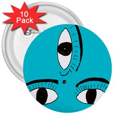 Eyes Three Blue 3  Buttons (10 pack)