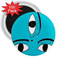 Eyes Three Blue 3  Magnets (100 pack)