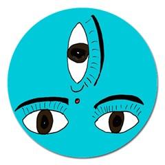 Eyes Three Blue Magnet 5  (Round)