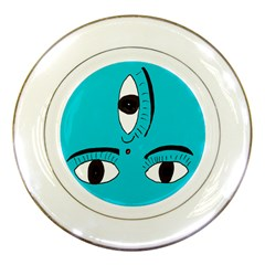 Eyes Three Blue Porcelain Plates