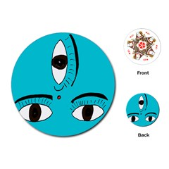Eyes Three Blue Playing Cards (Round)