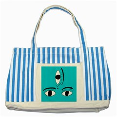 Eyes Three Blue Striped Blue Tote Bag