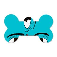Eyes Three Blue Dog Tag Bone (One Side)