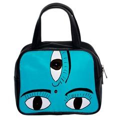 Eyes Three Blue Classic Handbags (2 Sides)