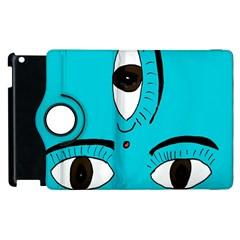 Eyes Three Blue Apple iPad 2 Flip 360 Case
