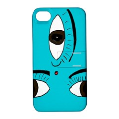 Eyes Three Blue Apple iPhone 4/4S Hardshell Case with Stand