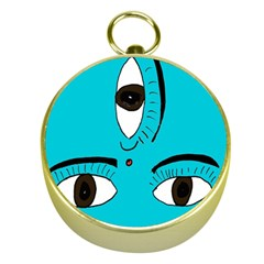 Eyes Three Blue Gold Compasses