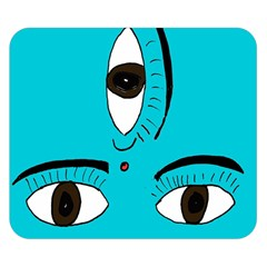 Eyes Three Blue Double Sided Flano Blanket (Small)