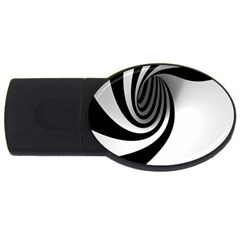Hole Black White USB Flash Drive Oval (2 GB)