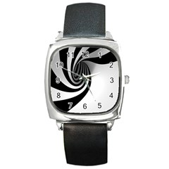 Hole Black White Square Metal Watch