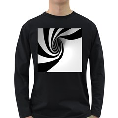 Hole Black White Long Sleeve Dark T-Shirts