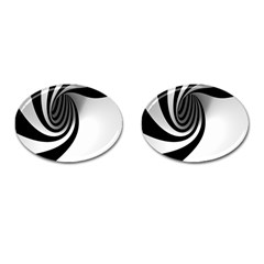 Hole Black White Cufflinks (Oval)