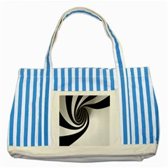 Hole Black White Striped Blue Tote Bag