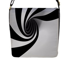 Hole Black White Flap Messenger Bag (L)