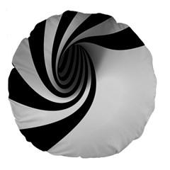 Hole Black White Large 18  Premium Flano Round Cushions