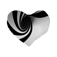 Hole Black White Standard 16  Premium Flano Heart Shape Cushions