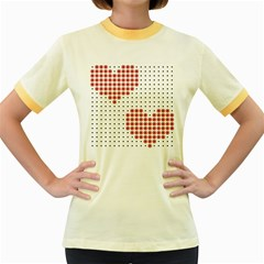 Heart Love Valentine Day Pink Women s Fitted Ringer T-Shirts