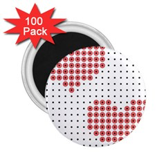 Heart Love Valentine Day Pink 2.25  Magnets (100 pack)