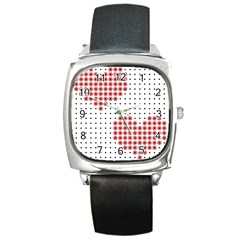 Heart Love Valentine Day Pink Square Metal Watch