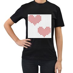 Heart Love Valentine Day Pink Women s T-Shirt (Black) (Two Sided)